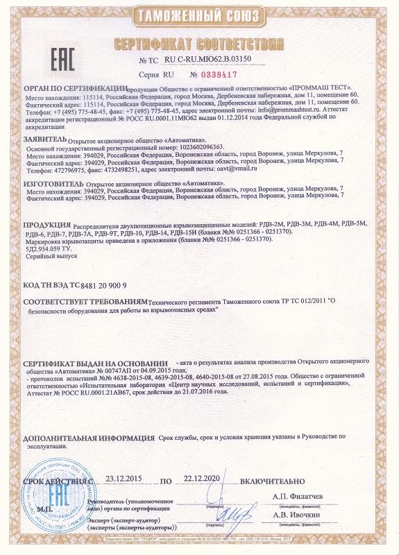 Сертификат; Разрешение